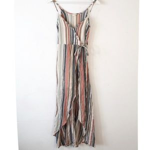 Altar'd State Small Faux Wrap Dress Striped Maxi
